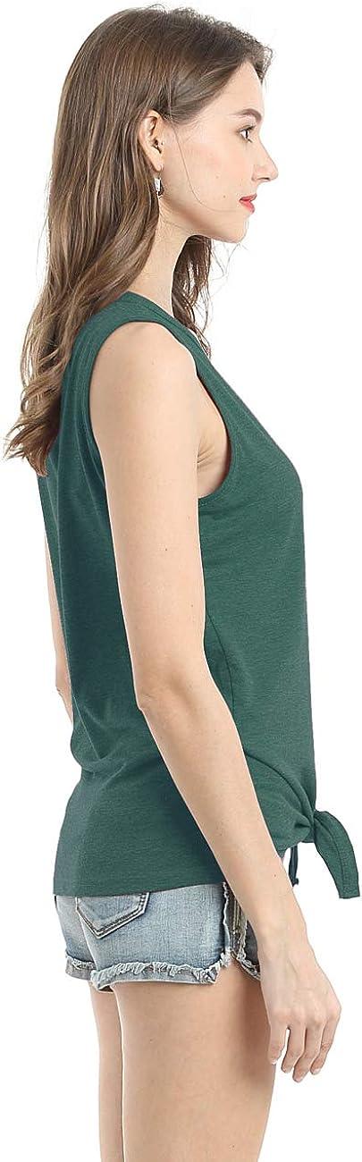Bibowa Women Sleeveless Shirts Front Tie Tank Top Button Down Fitted Plain T-Shirt