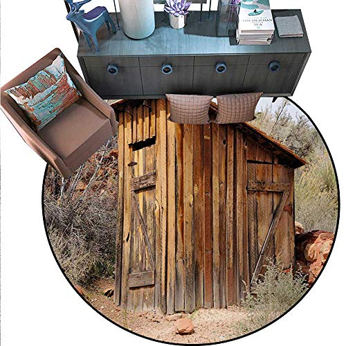 (Outhouse Round Floor Cover Old Wooden Shed in The Outback Country Side Olive Trees Door mat Indoors Bathroom Mats Non Slip (59