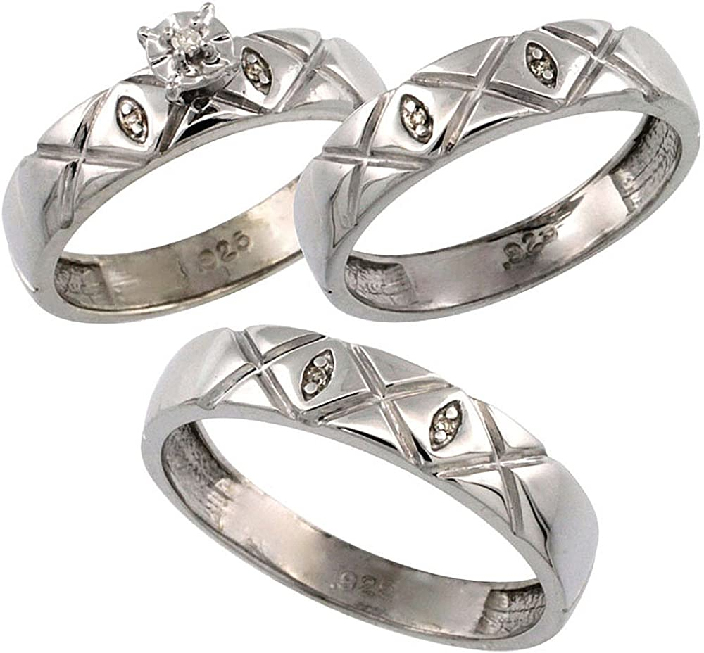 Mens Sizes 8 to 14 Ladies Size 10 4.5mm w// 0.056 Carat Brilliant Cut Diamonds Diamond Wedding Ring Band Set Sterling Silver 3-Pc Trio His 5mm /& Hers
