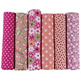 UOOOM 6pcs 50 x 50cm Patchwork Cotton Fabric DIY Handmade Sewing Quilting Fabric Different Designs (Tone-Pink)