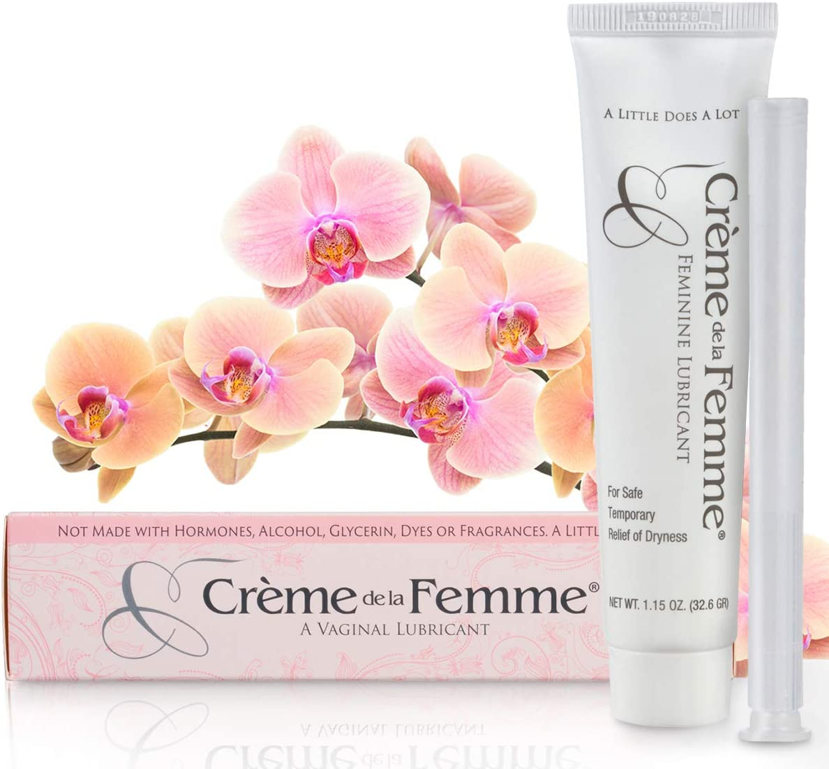 Creme De La Femme Vaginal Lubricant Naturally End Vaginal Dryness: Hormone-Free, Glycerin-Free, Alcohol-Free, Vaginal Dryness Relief, Won't Cause Yeast Infection, Includes Free Applicator (2)