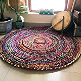 Jai Shri Shyam Cotton Chindi Rug/Door Mat for Home-Natural Eco Yarn-90 cm Diameter