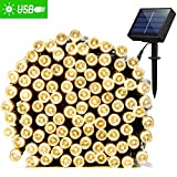 Tools & Hardware : Solar String Lights 72ft 200 LED Fairy Lights, Ambiance lights for Outdoor, Patio, Lawn,Garden, Home, Wedding, Holiday, Christmas Party, Xmas Tree decoration,waterproof/Timer/USB Charge (Warm White)
