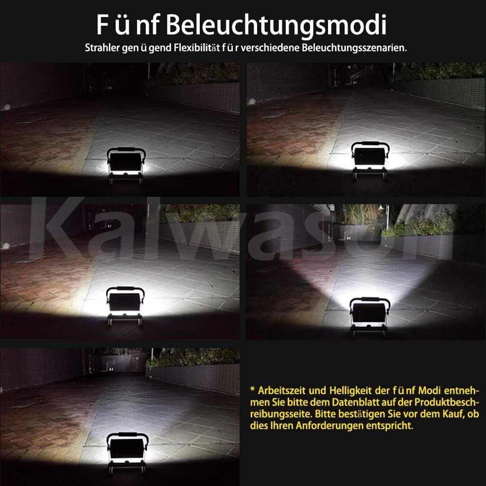 Led Baustrahler Akku Strahler Beleuchtung f/ür Camping 80W Strahler mit 6 Dimmstufen Arbeitsleuchte Tragbar 360/° Drehbare Halterung Garage 300~3000 Lumen Dekorieren