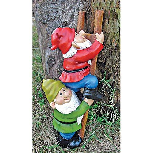 Garden Gnome Sculpted (Design Toscano Up The Ladder Climbing Gnomes Funny Gnome Garden Statue, 11 Inch, Polyresin, Full Color)