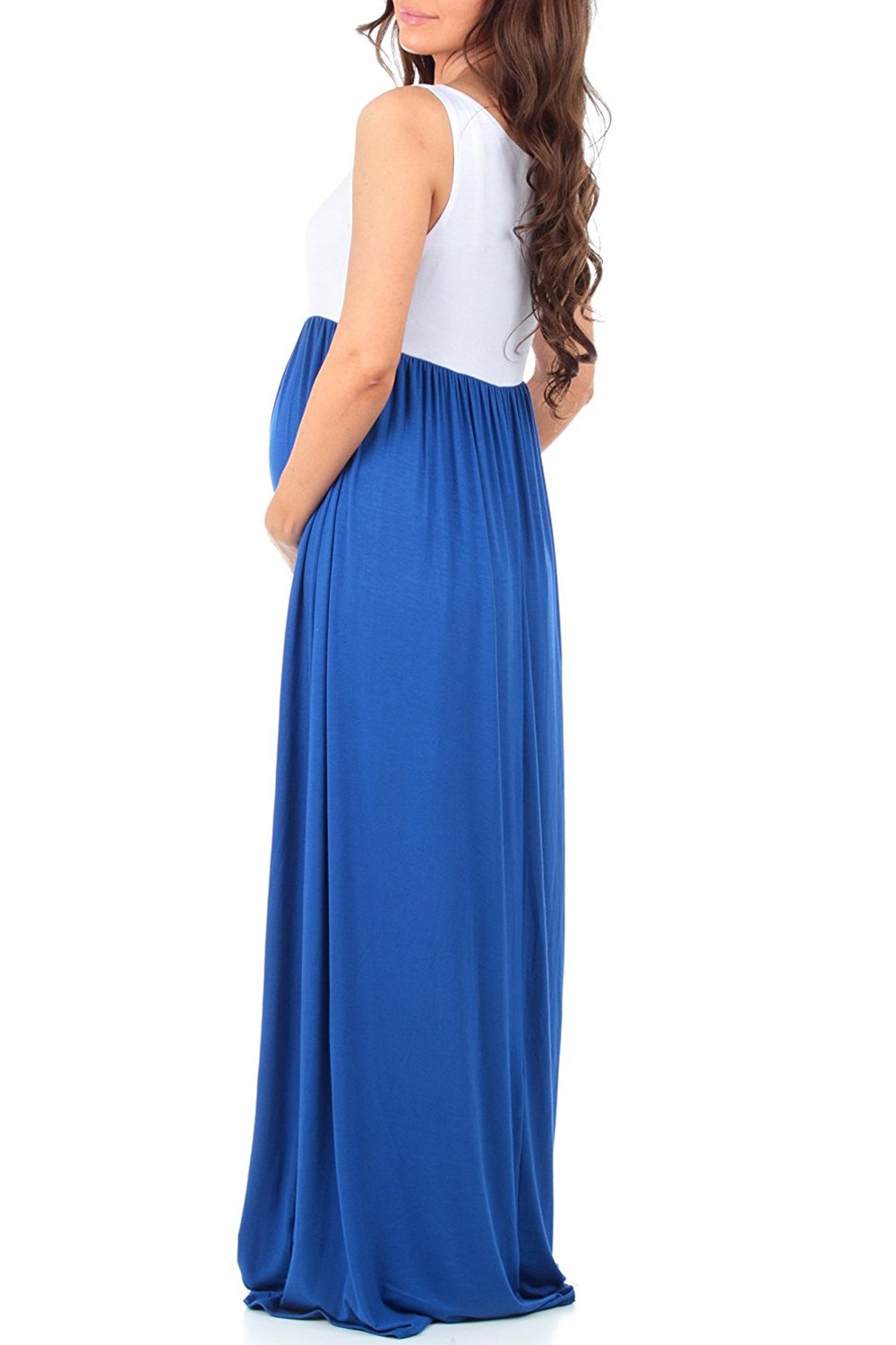 MANNEW Maternity Dress Sleeveless Maxi Dress Tank Stitching Color Block Stretch Causual Wrap Dress Ruched Gowns Blue X-Large by MANNEW (Image #4)