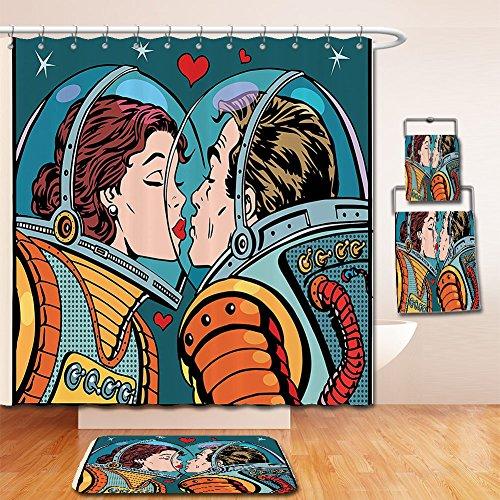 LiczHome Bath Suit: Showercurtain Bathrug Bathtowel Handtowel Animeove Decor Space Man andoman Astronauts Kissing Science Cosmos Fantasy Couple Pop Art Style Artful Print Polyester Fabric Multi For Ba