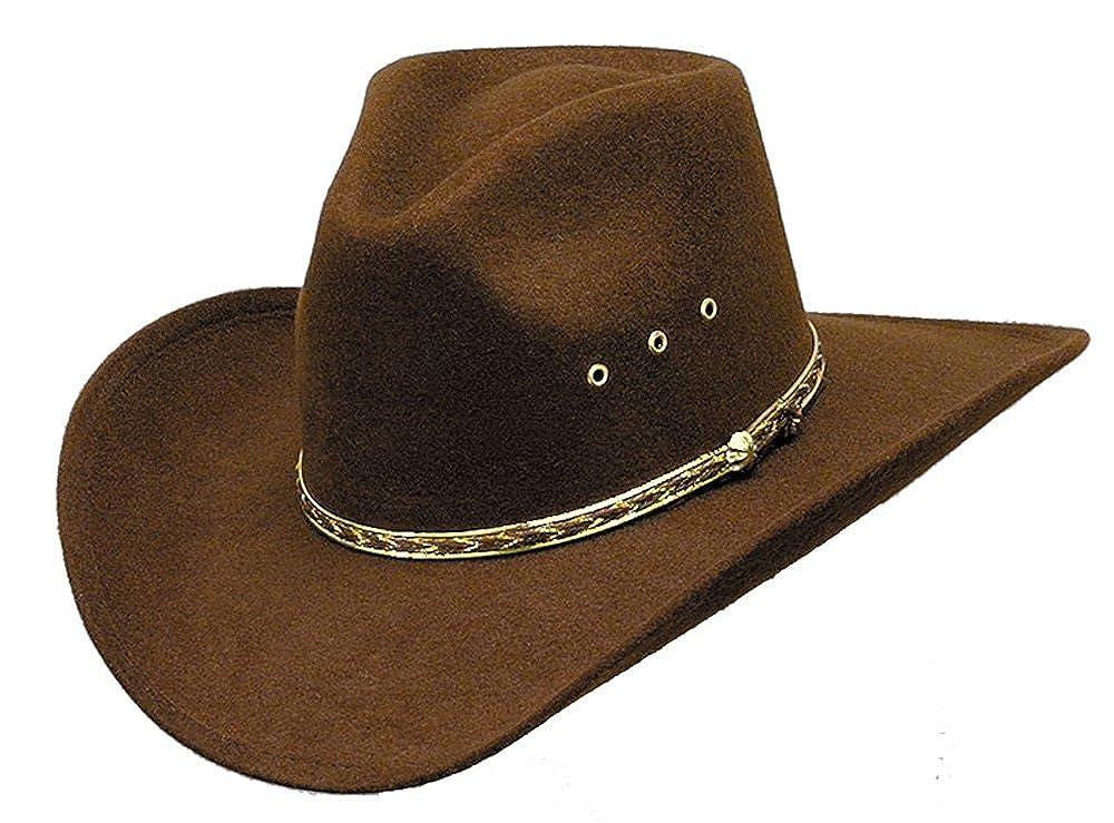 Brown Pinch Front Faux Felt Hat Elastic Fit