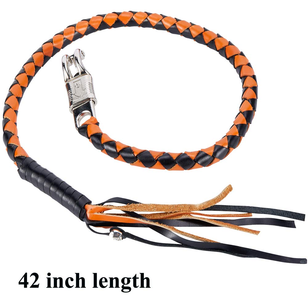 Orange//Black Get Back Whip 42 Motorcycle Whip Leather Biker Whip Old School New