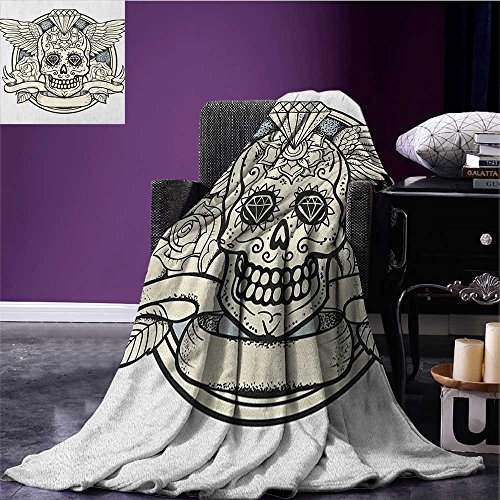 Sugar Skull cool blanket Illustration of Calavera Diamond