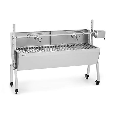 Klarstein Sauenland Pro Grill para cochinillos - Pincho Giratorio, Motor eléctrico 15W, Varias Alturas, 4 Parrillas, Protegido del Viento, ...
