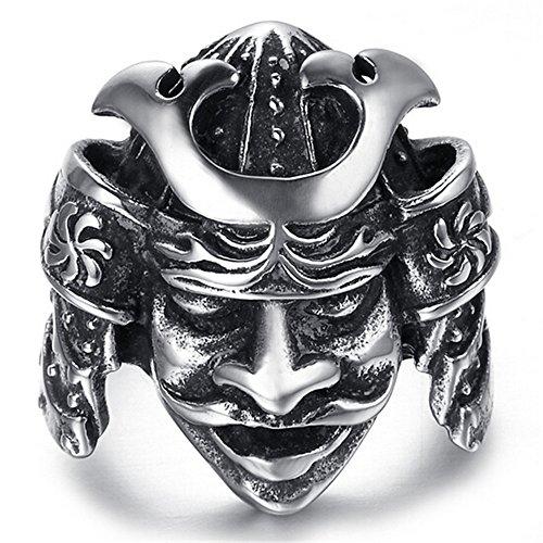 HIJONES Mens Jewelry Stainless Steel Armor Samurai Style Ring