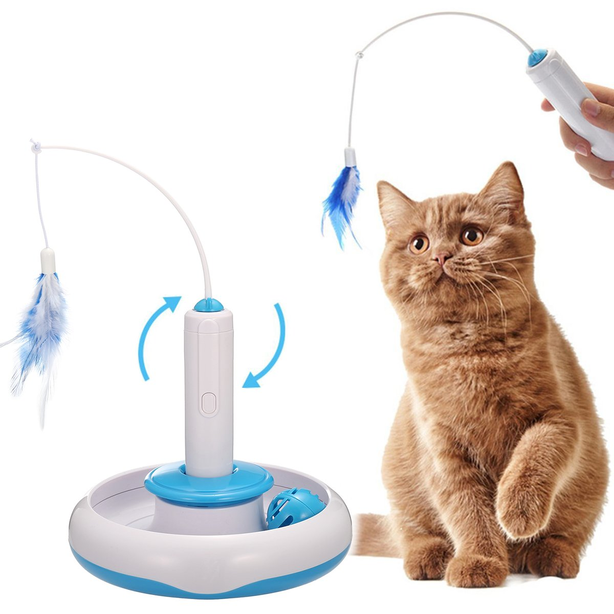 FOCUSPET Cat Interactive Toys, Electric Rotate Feather Toys Spinning Teaser Wand Motion Cat Toy Automated Activity Toy for Cats Kitten