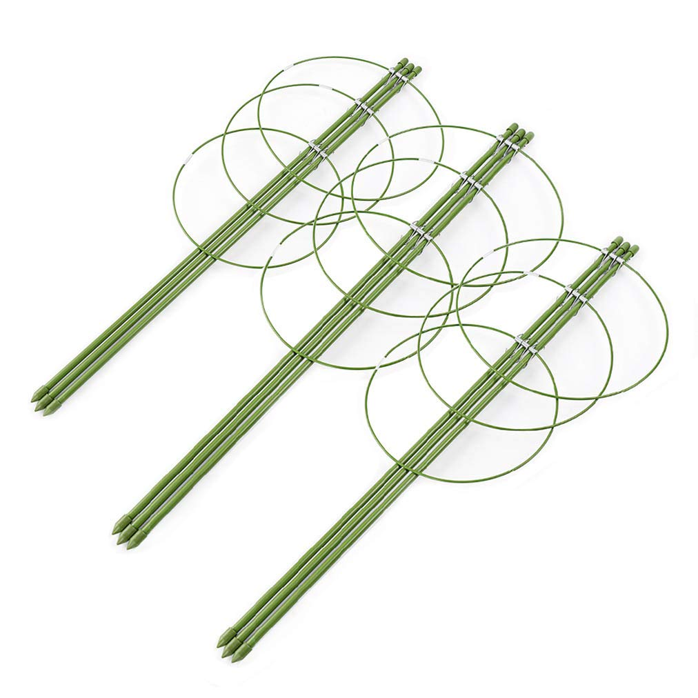 AHZZY Climbing Plants Support, Set of 3 Pack Ring Garden Trellis for Flowers Tomato Grow Cages Stand 24inches Height