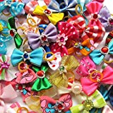 Random 20pcs Mix Lots Pet Dog Hair Bows Band Pearl Rhinestone Pet Dog Grooming Flower