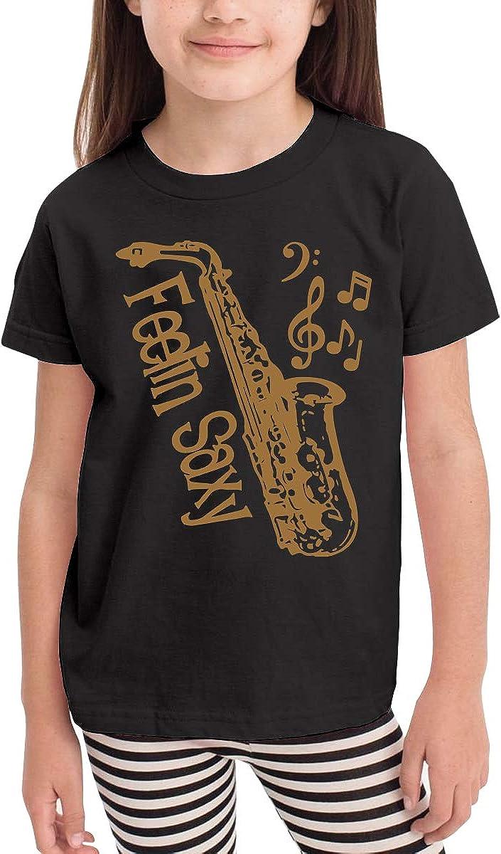 CERTONGCXTS Baby Girls Kids Feelin Saxy Funny Saxophone Cute Short Sleeve Tee Shirt Size 2-6