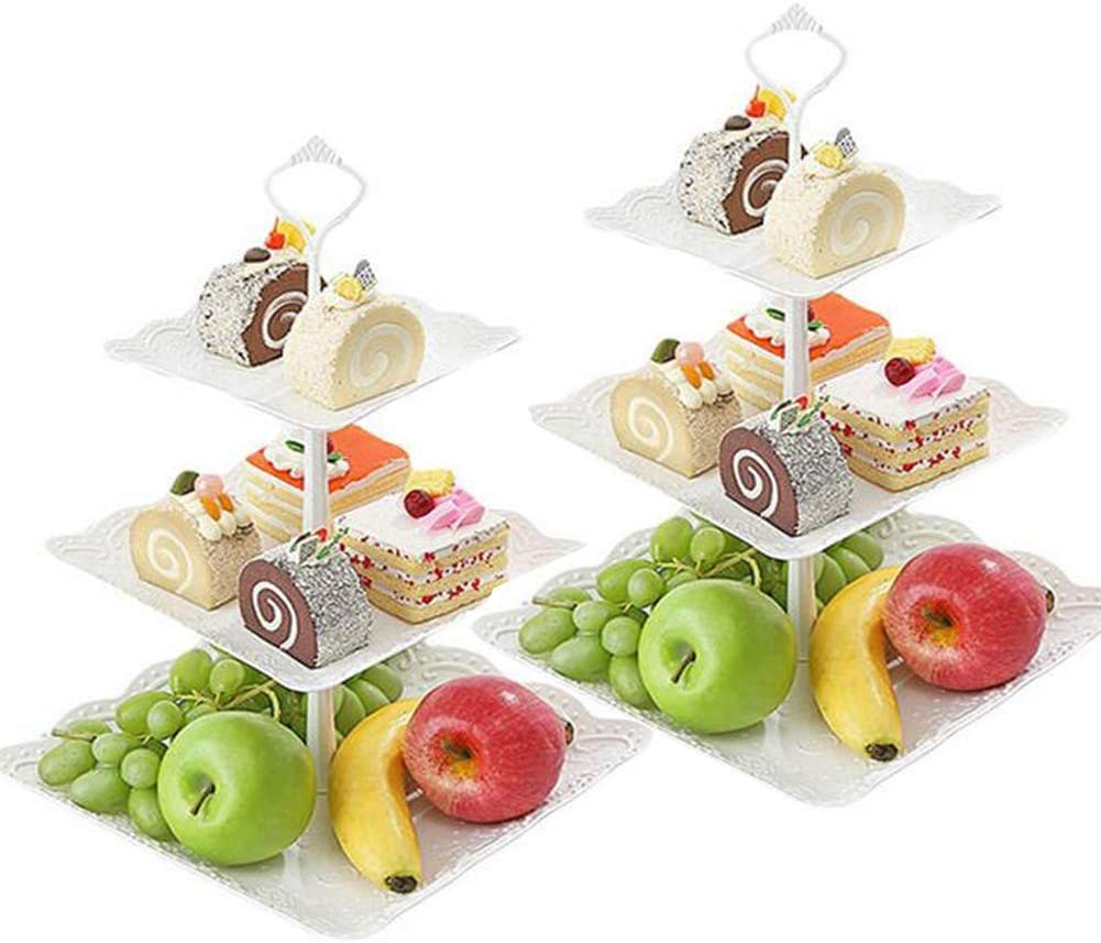 Seatour 2Pcs European 3-layer fruit plate dessert table multi-layer cake rack dried fruit plate tea snack tray