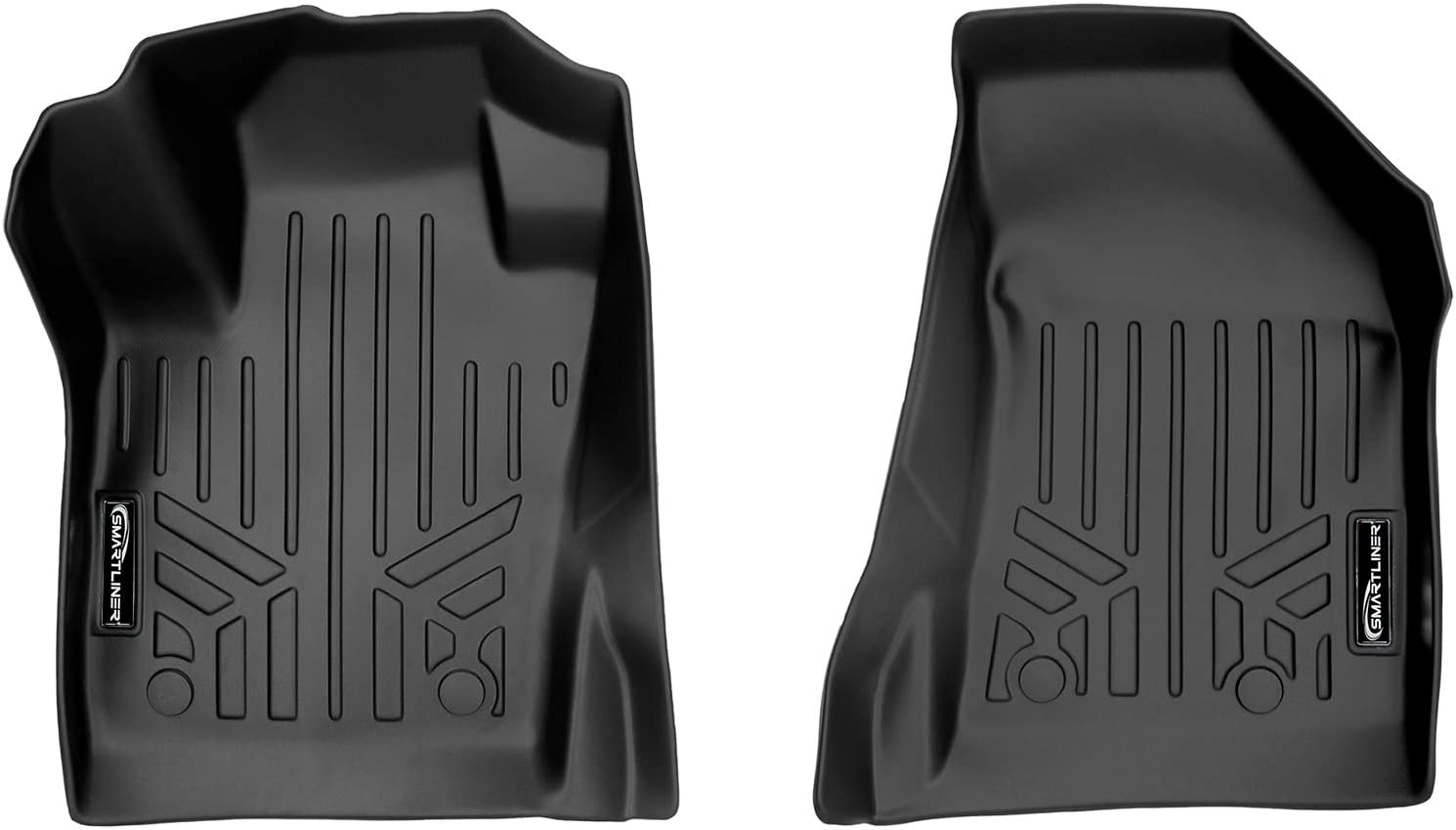 SMARTLINER Floor Mats 1st Row Liner Set Black for 2017-2021 Jeep Compass with Dual Driver Side Floor Hooks (New Body Style)