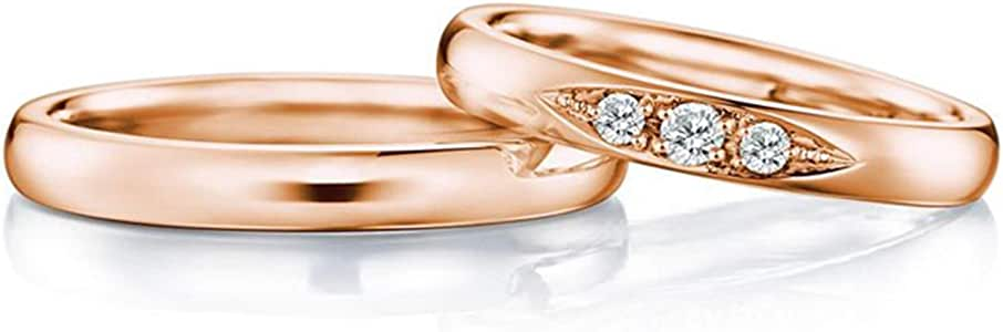 Gnzoe 2PCS 18K Rose Gold Wedding Bands for Couples Round with Diamond 0.15ct Engagement Wedding Ring for Him & Her