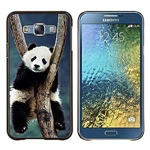 KLONGSHOP // Cubierta de piel con cierre a presión Shell trasero duro de goma Protección Caso - Cute Panda - Samsung Galaxy E7 E700 //