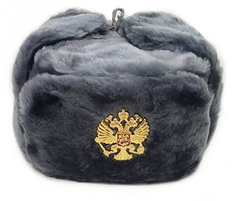 3ba58edfbe8d7 Image Unavailable. Image not available for. Color  Russian Soviet Army Fur  Military Cossack Ushanka Hat Gray ...