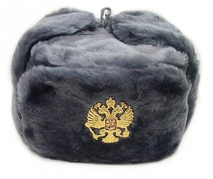 Amazon.com  Hat Russian Soviet Imperial Eagle Gray KGB  Fur Military ... 82e485da9db