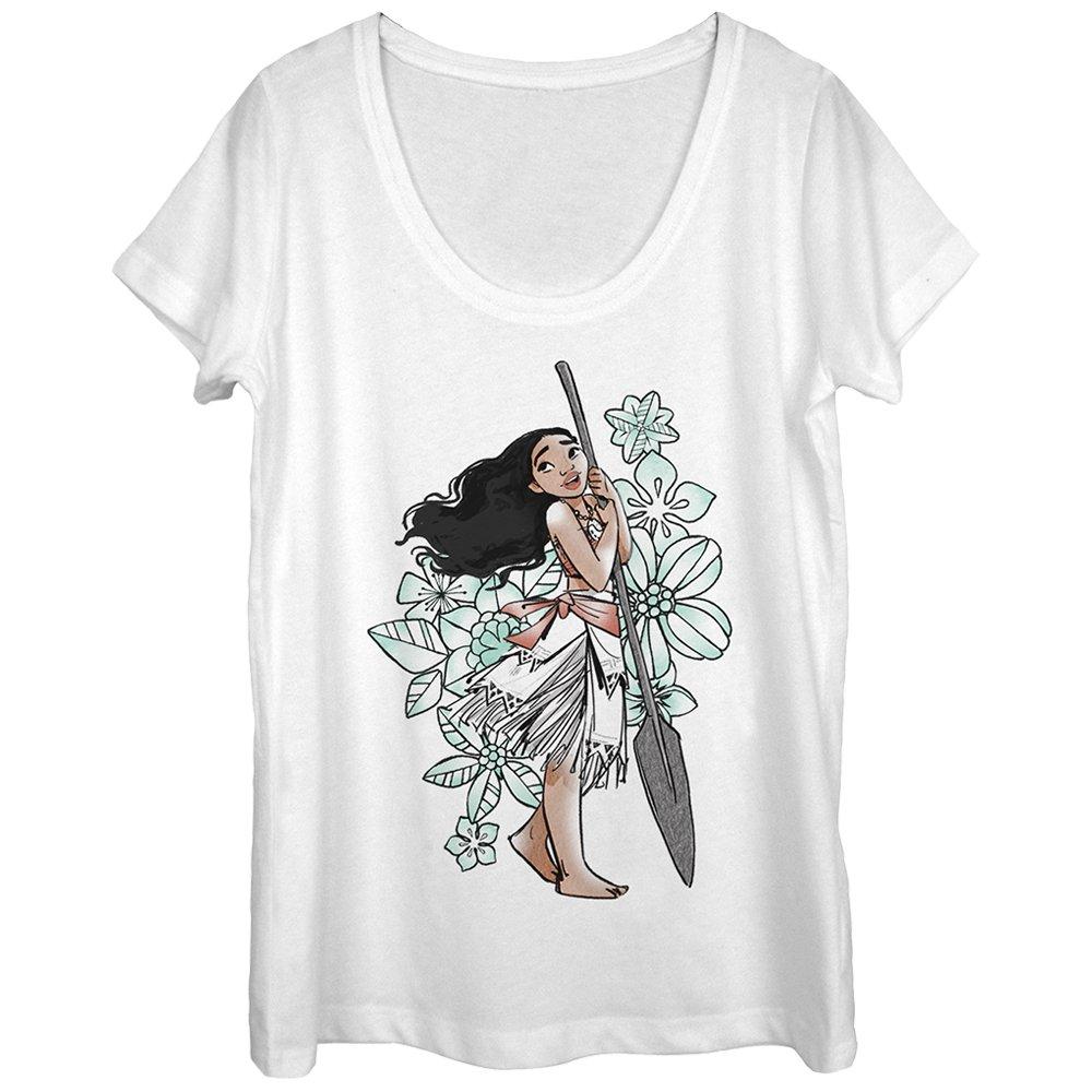 Fifth Sun Moana Women's Tropical Floral Print White Scoop Neck T-Shirt
