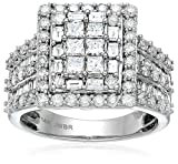 Women's 14k White Gold Princess Diamond Square Frame Cluster Composite Ring, Size 7 (2cttw, H-I Color, I2-I3 Clarity)