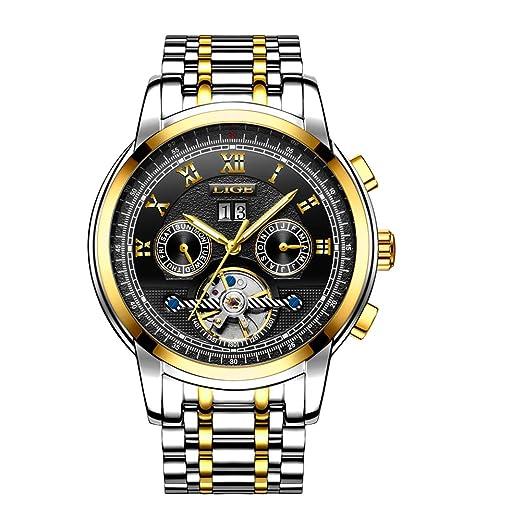 Relojes Hombre Lujo Militar Mecánicos Automáticos de Acero Inoxidable Impermeables Cuarzo de la Moda de los Reloj Hombre Negro de Oro Clásicos: Amazon.es: ...