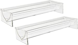 HOME-X Set of 2 Acrylic Cracker Server Trays, Clear Serving Trays for Entertaining, Decorative Tray for Appetizers and Snacks, 8 ¼