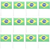 MagiDeal 12pcs Hand Waving Brazil Flags