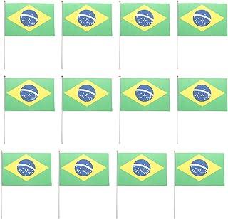 12pcs Agitant Brazil Drapeaux Bannières Main