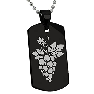 Black Stainless Steel Dionysus Greek God Of Wine Symbol Engraved Dog