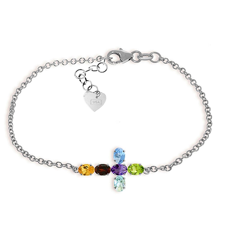 ALARRI 1.68 Carat 14K Solid White Gold Cross Bracelet Natural Multi Gemstones Size 8 Inch Length