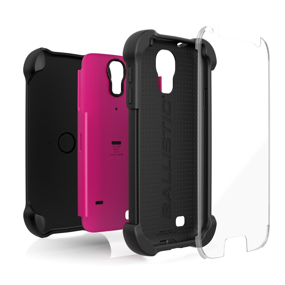 Ballistic SG MAXX Case for Samsung Galaxy S4 - Retail Packaging - Black/Hot Pink