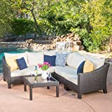 Cheap Caspian 6 Piece Outdoor Wicker Furniture Patio Sectional Sofa Set