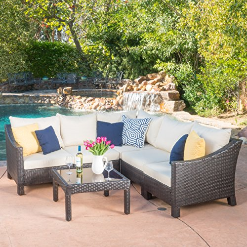 Sectional Seating Set - Caspian 6 Piece Outdoor Wicker Furniture Patio Sectional Sofa Set