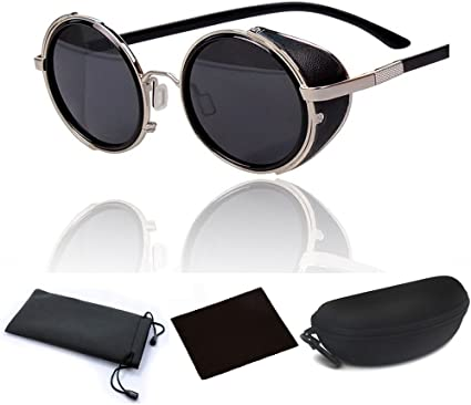 Men Women Retro Vintage Round Mirrored Lens Sunglasses Summer Outdoor Eyewear