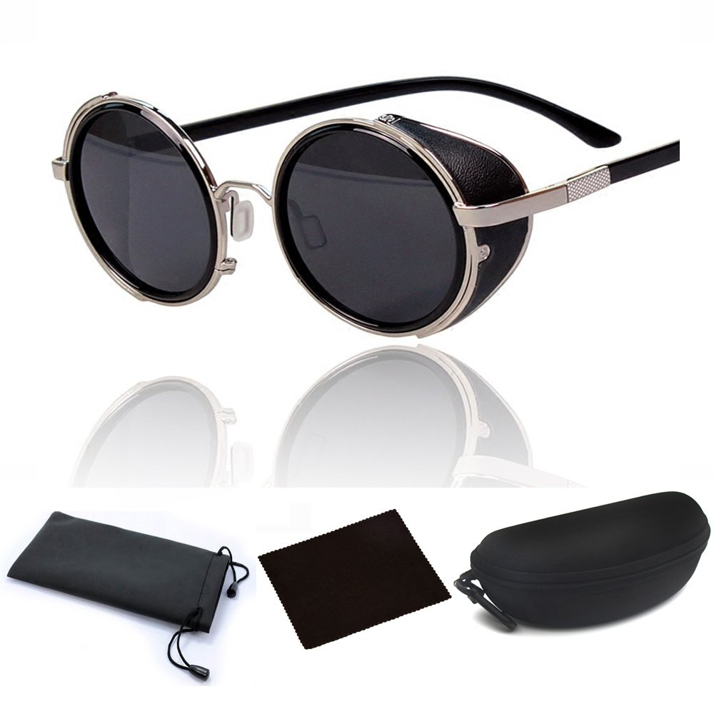 a8aeba5f0d Amazon.com  Hot Steampunk Retro Style 50s Silver Frame Round Black Mirror  Lens Glasses Blinder Sunglasses for Men Women Outdoor Beach Travelling  Cycling  ...