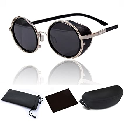 ed7e0121295 Hot Steampunk Retro Style 50s Silver Frame Round Black Mirror Lens Glasses  Blinder Sunglasses for Men