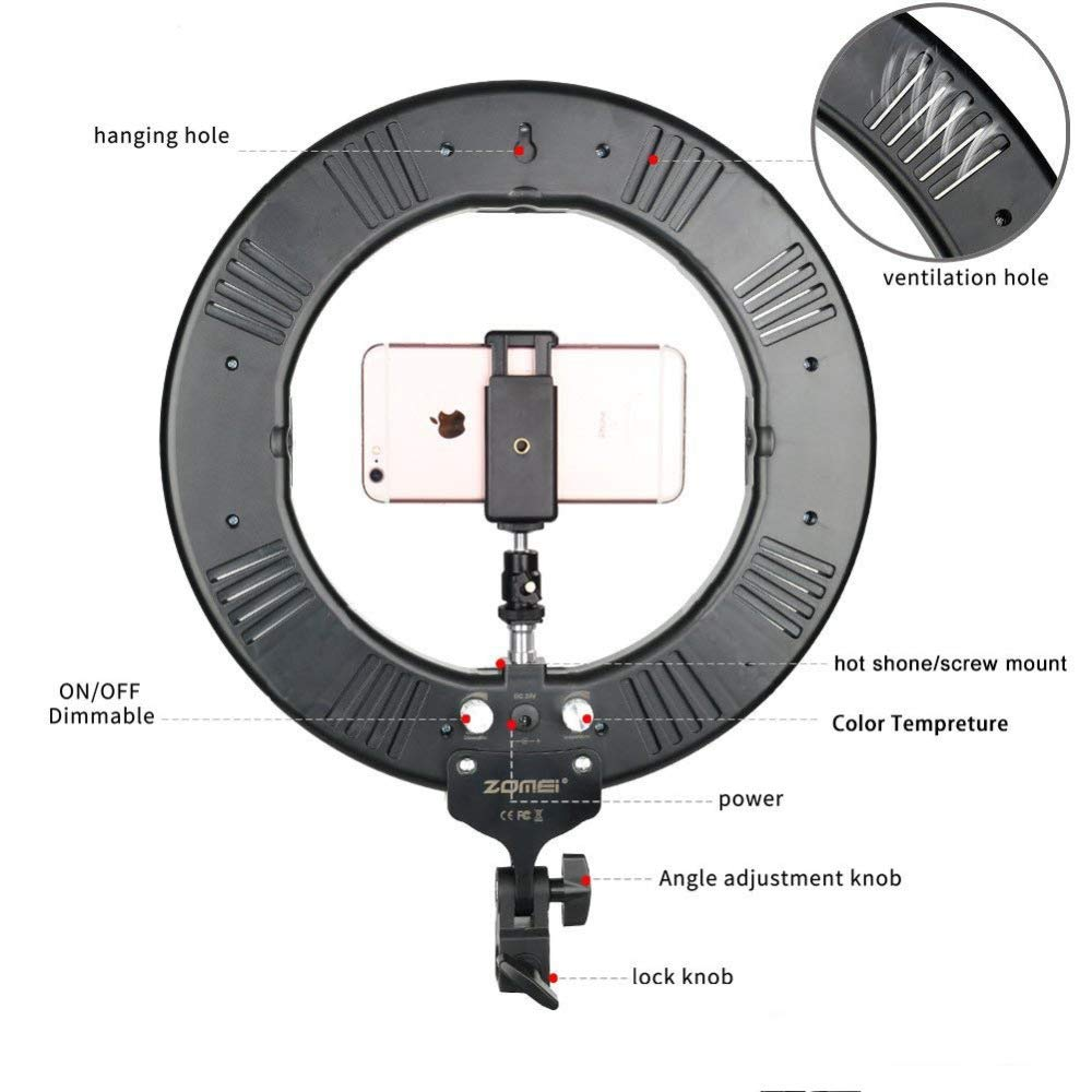 Smartphone Holder Hot Shoe Adapter for Camera Photo Studio YouTube Video Shooting HUAXING 14-inch Outer Dimmable SMD LED Ring Light Kit with 78.7 inches Light Stand Bluetooth Receiver