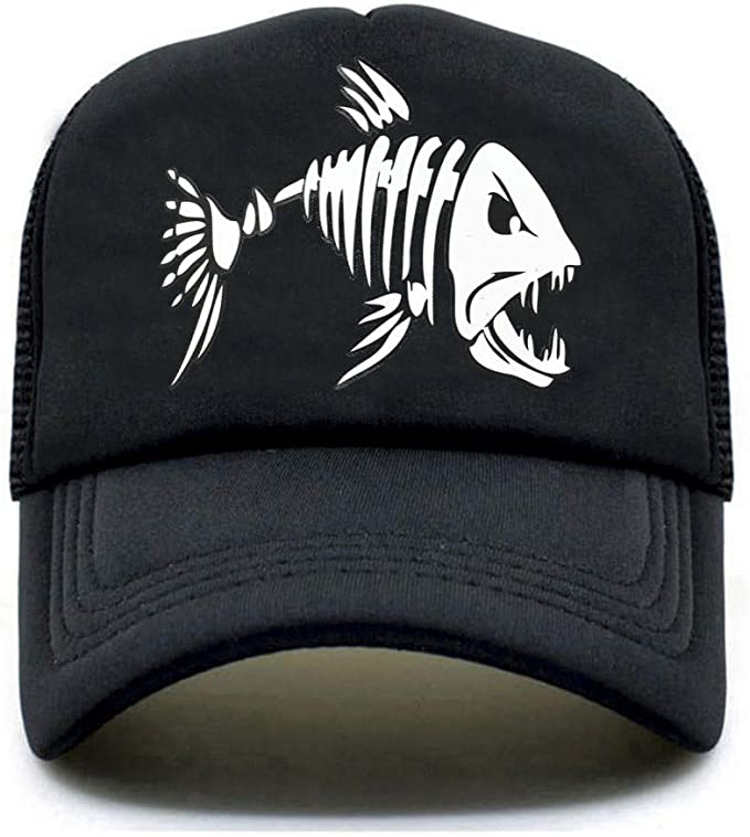 MAOZIJIE Fishbone Trucker Cap Men Pesca Esqueleto Fish Bone Cap ...
