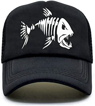 MAOZIJIE Fishbone Trucker Cap Men Pesca Esqueleto Fish Bone Cap ...