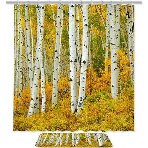 - Anna Cowper Aspen Tree Leaves Shower Curtain and Bath Rug Set,Includes 71