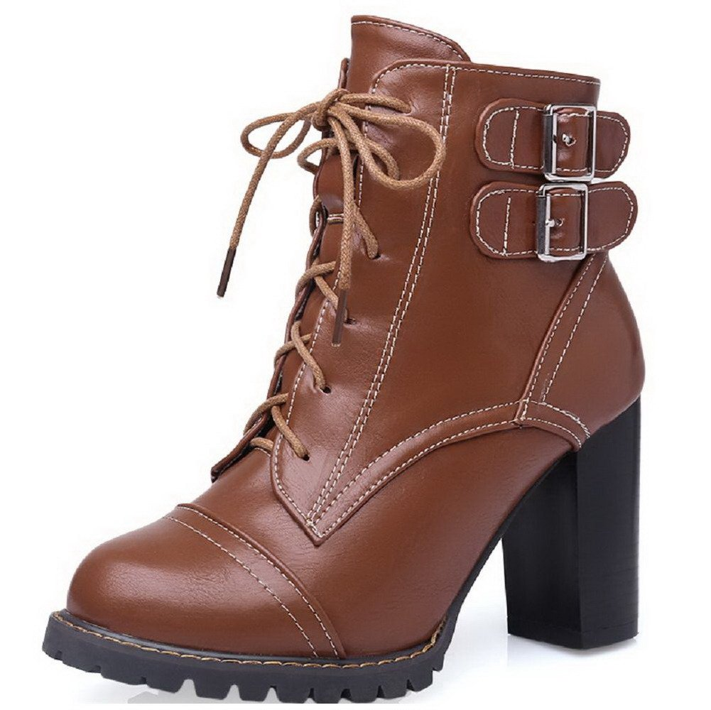 AmoonyFashion Women's Lace up Round Closed Toe High Heels Low Top Boots, Brown, 32 by AmoonyFashion (Image #1)