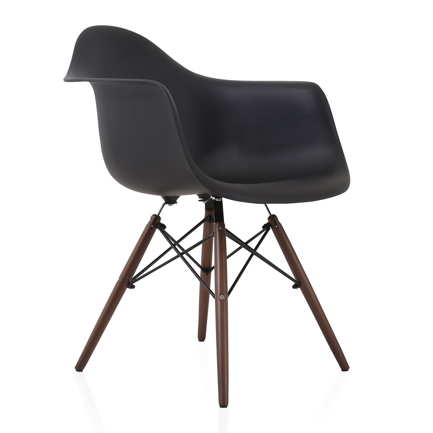 DAW Scandinavian Black Molded Plastic Dining Arm Chair with Dark Walnut Wood Eiffel Legs