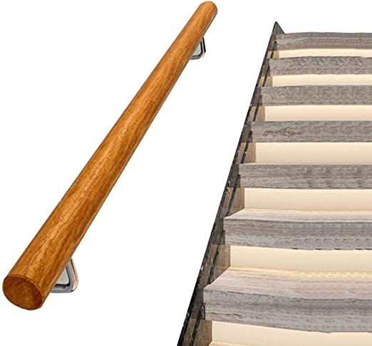 AtR Kit de barandilla de barandilla de Escalera de Madera Maciza y Acero Inoxidable Cepillado (con Tapas y Soportes con cúpula) para Barras, lofts, escaleras Mango Antideslizante para jardín de: Amazon.es: Hogar