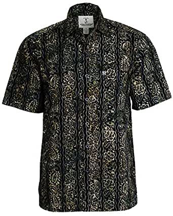 Artisan Outfitters Mens Riptide Batik Cotton Shirt (S, Orchard Green) A0214-35-S