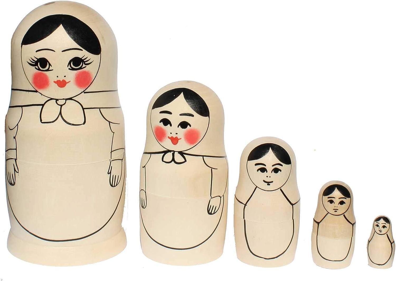 Semenowskaya Rospis Russische Matroschka Babuschka Rohling mit Konturen zum selbstbemalen Holz Set 5 Figuren 16 cm