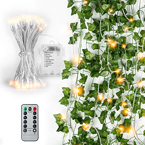 84 Ft 12 Pcs Artificial Ivy Garland Fake Vines with 80 LED String Light and Remote Control JACKYLED Hanging Garland for Holiday Home Kitchen Garden Office Wedding Party Indoor & Outdoor Decoration